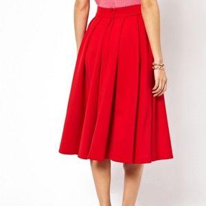 ASOS Red Scuba Midi Skirt 12 NWT Dressy